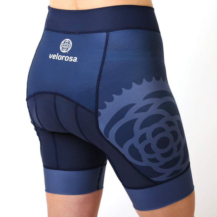 Model wearing Basics Collection Women's Cycling Shorts Navy Back