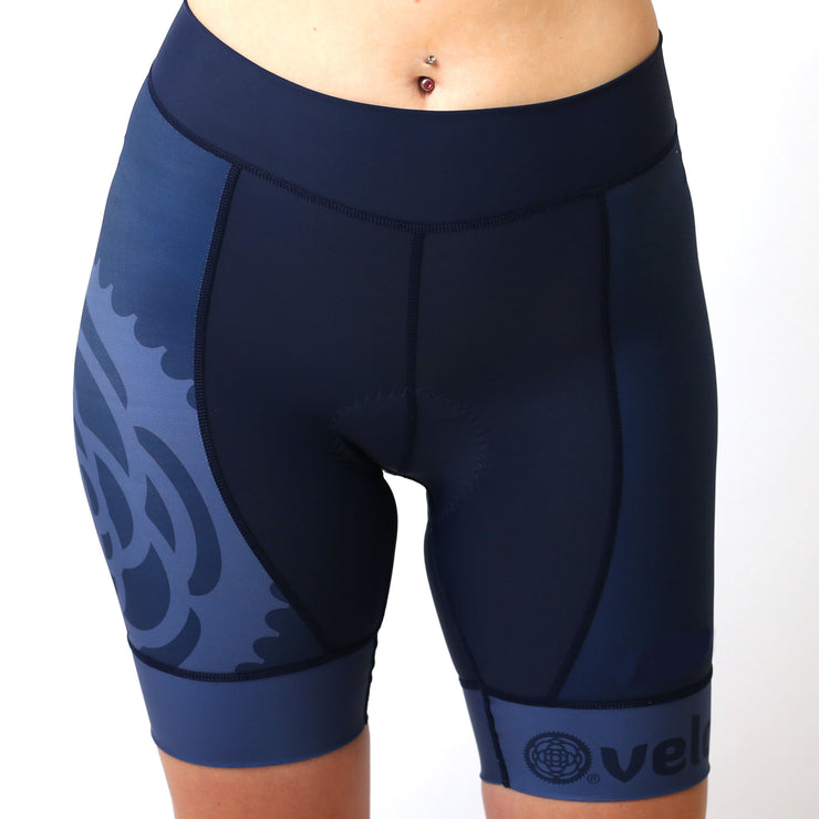 Model wearing Basics Collection Women's Cycling Shorts Navy Front