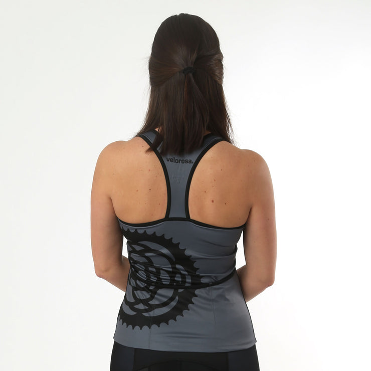 Model wearing Basic Black Women's Biking Tank Back