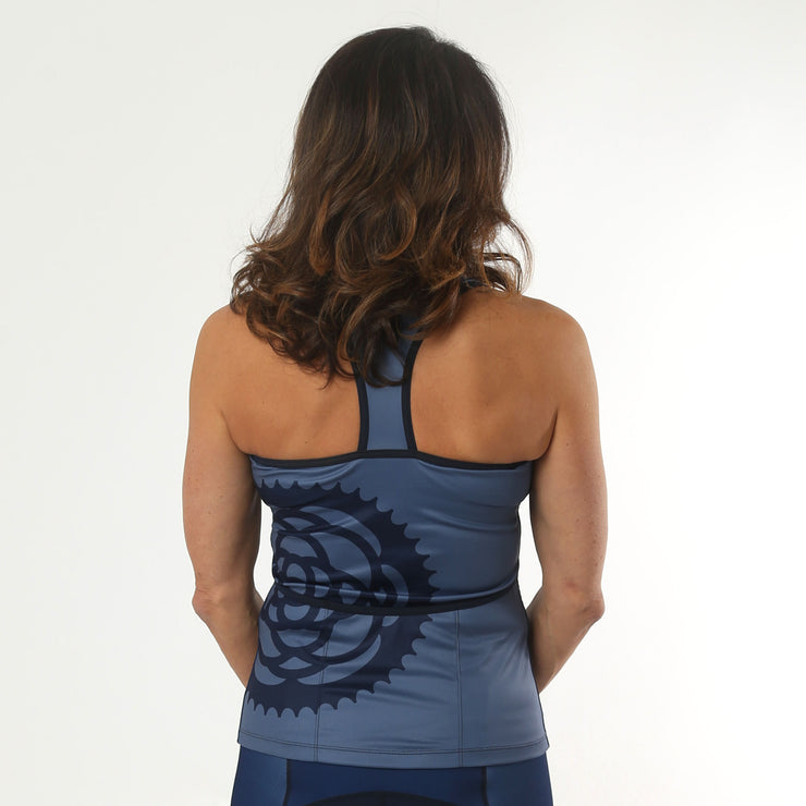 Model wearing Basic Navy Women's Biking Tank Back