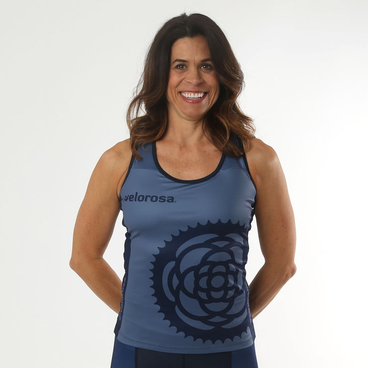 Model wearing Basic Navy Women's Cycling Tank Front