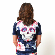 Model wearing Boneshaker Women's Short-Sleeved Biking Jersey Back