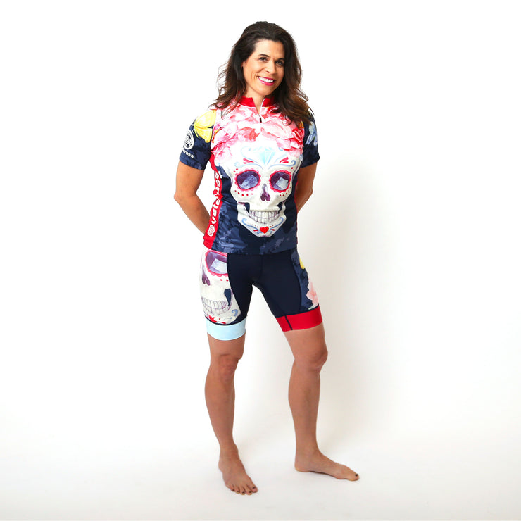 Model wearing Boneshaker Women's Short-Sleeved Cycling Kit Front