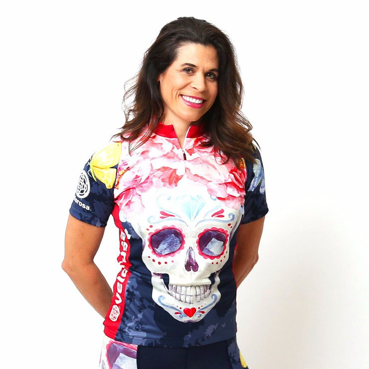 Model wearing Boneshaker Women's Short-Sleeved Cycling Jersey Front