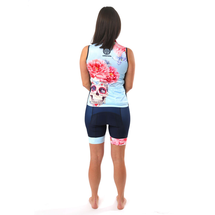 Model wearing Boneshaker Women's Biking Kit Sleeveless Jersey Back