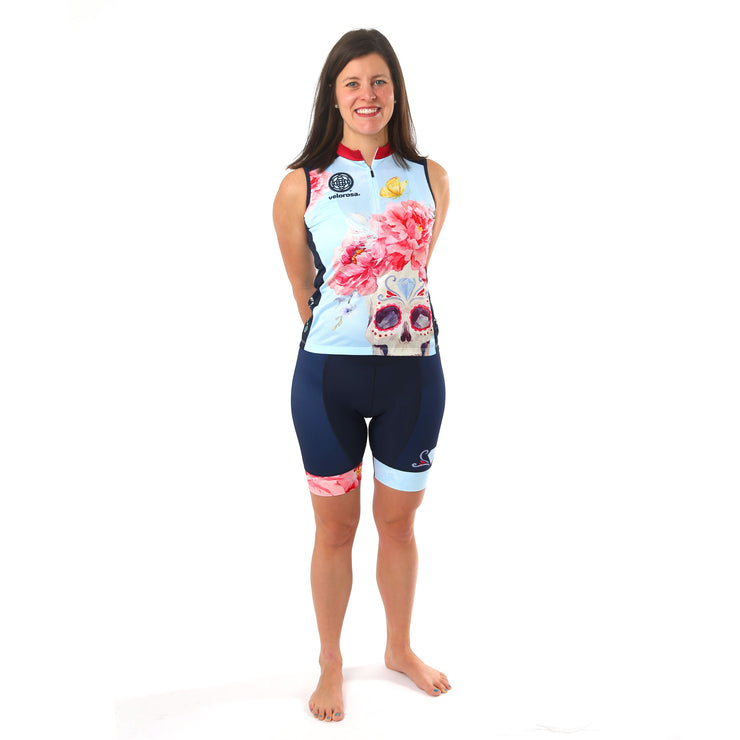Model wearing Boneshaker Women's Cycling Kit Sleeveless Jersey Front