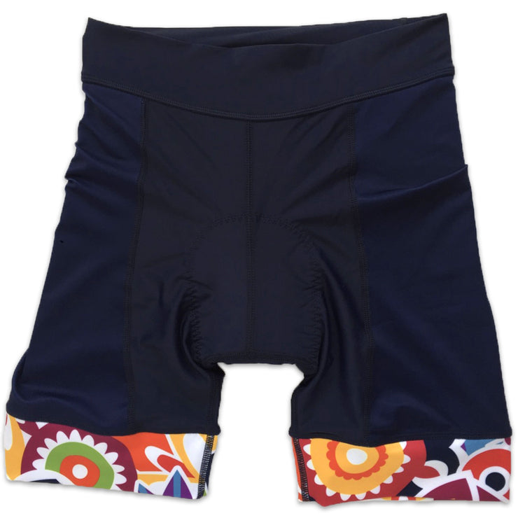 Flower Power Women's Band Cycling Shorts Front