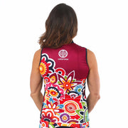 Model wearing Flower Power Women's Sleeveless Biking Jersey Back
