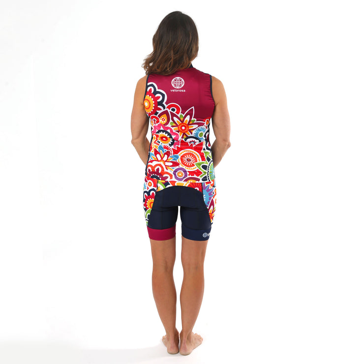Model wearing Flower Power Women's Sleeveless Biking Jersey Kit Back