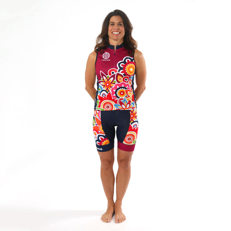 Model wearing Flower Power Women's Panel Cycling Shorts Kit Front