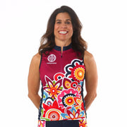 Model wearing Flower Power Women's Sleeveless Cycling Jersey Front