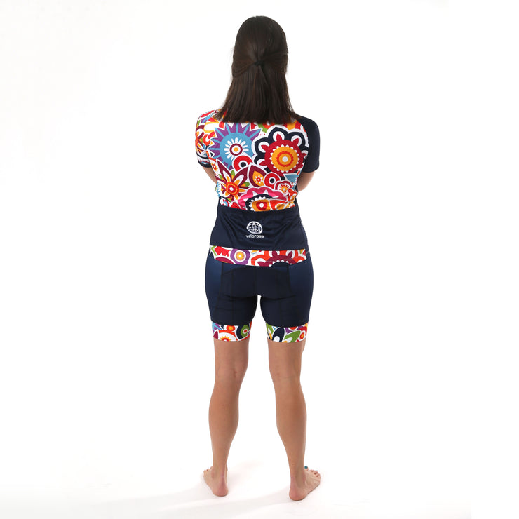 Model wearing Flower Power Women's Biking Jersey Kit Back