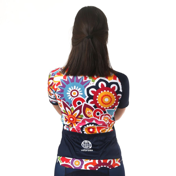 Model wearing Flower Power Women's Biking Jersey Back