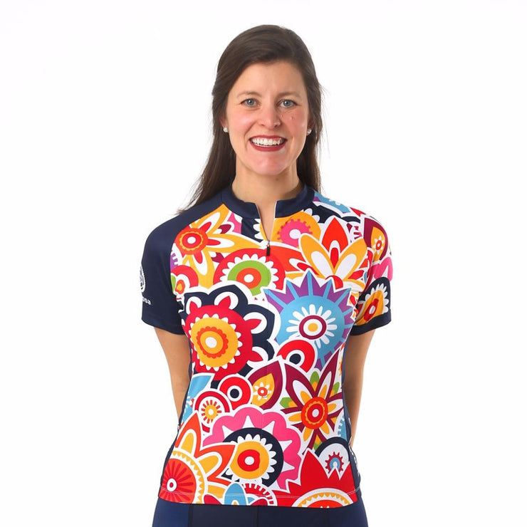 Model wearing Flower Power Women's Cycling Jersey Front
