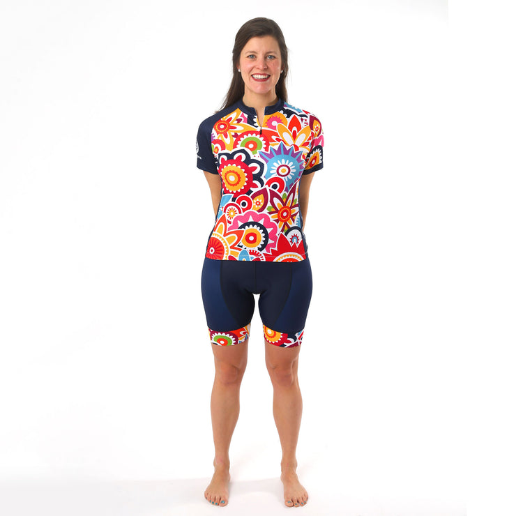 Model wearing Flower Power Women's Cycling Jersey Kit Front