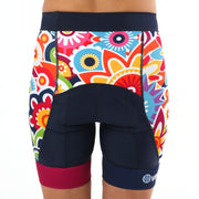 Model wearing Flower Power Women's Panel Biking Shorts Back