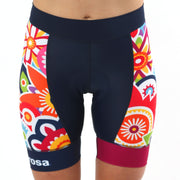 Model wearing Flower Power Women's Panel Cycling Shorts Front