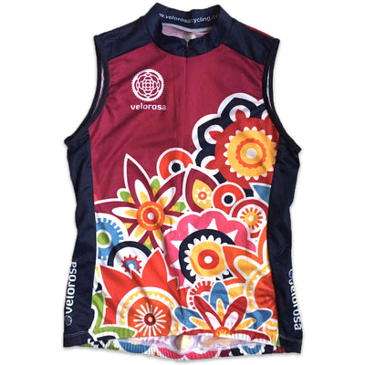 Flower Power Women's Sleeveless Cycling Jersey Front