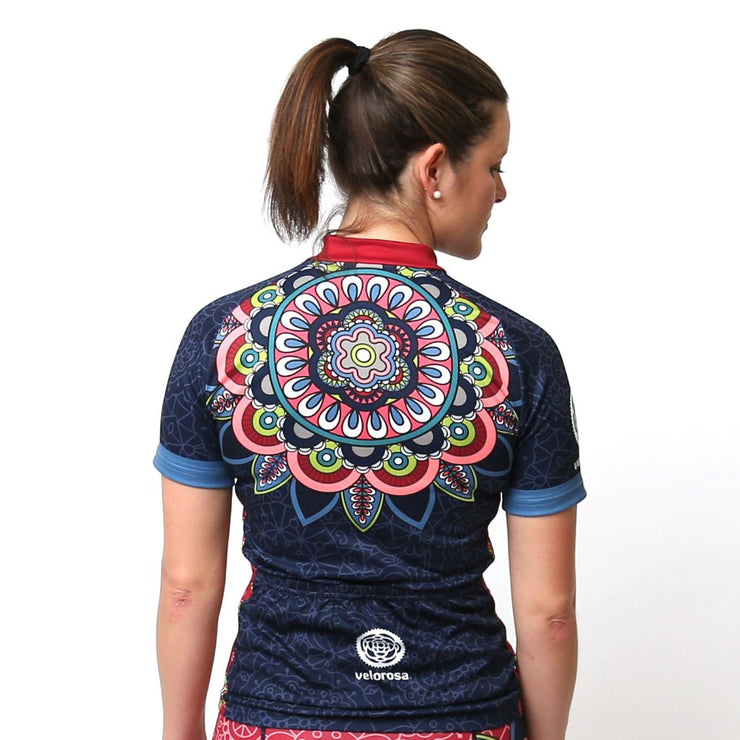 Model wearing Mandala Women's Short-Sleeved Biking Jersey Back