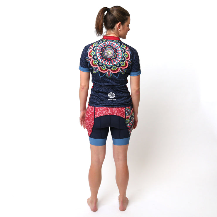 Model wearing Mandala Women's Short-Sleeved Biking Kit Back