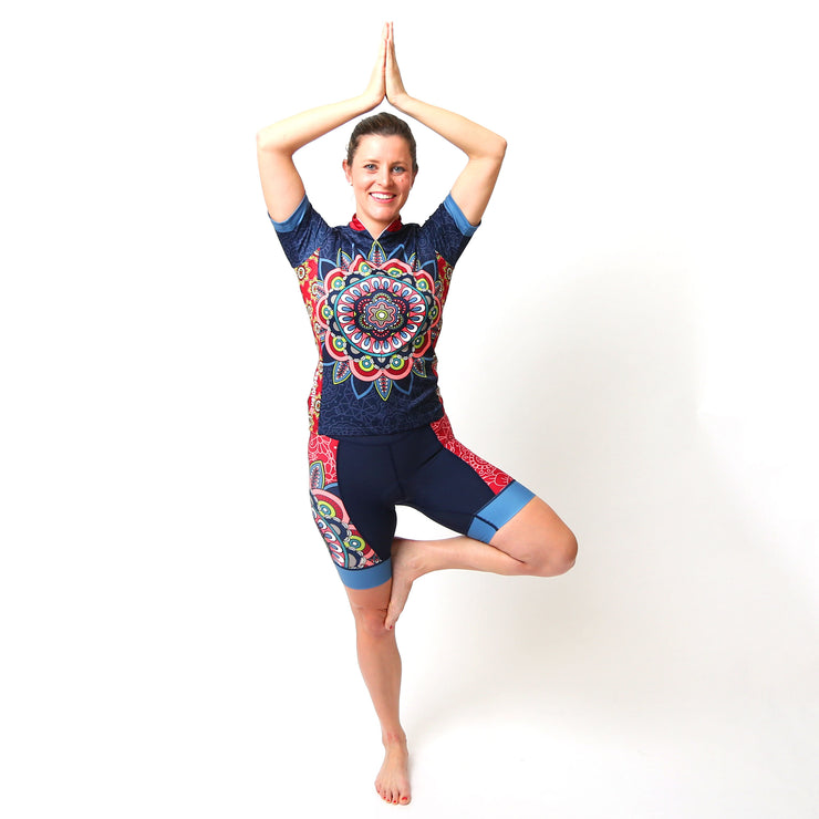 Model wearing Mandala Women's Short-Sleeved Cycling Kit Front