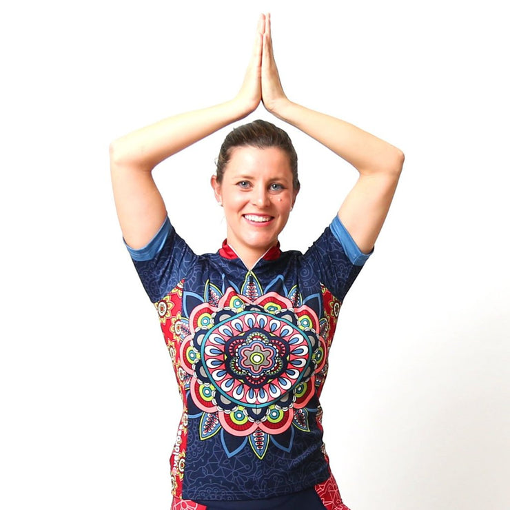 Model wearing Mandala Women's Short-Sleeved Cycling Jersey Front