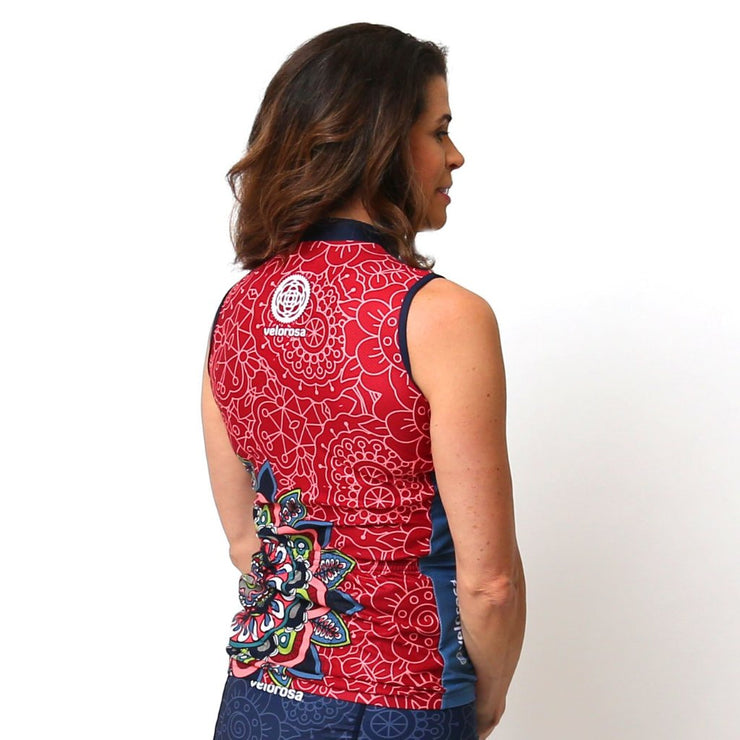 Model wearing Mandala Sleeveless Women's Biking Jersey Back