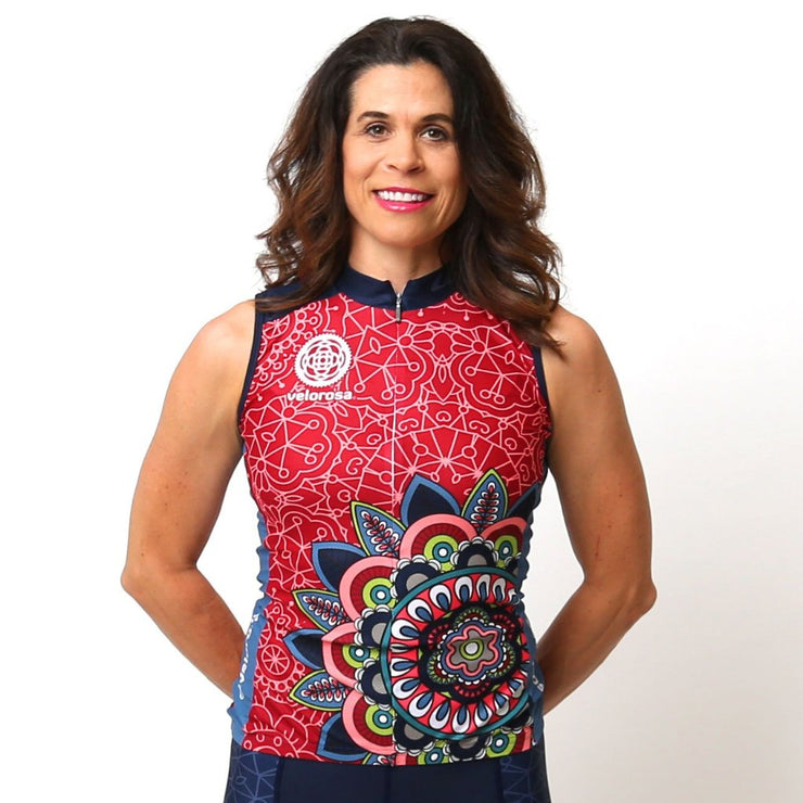 Model wearing Mandala Sleeveless Women's Cycling Jersey Front