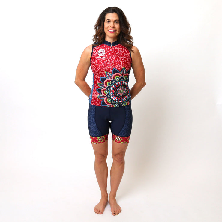 Model wearing Mandala Sleeveless Women's Cycling Kit Front