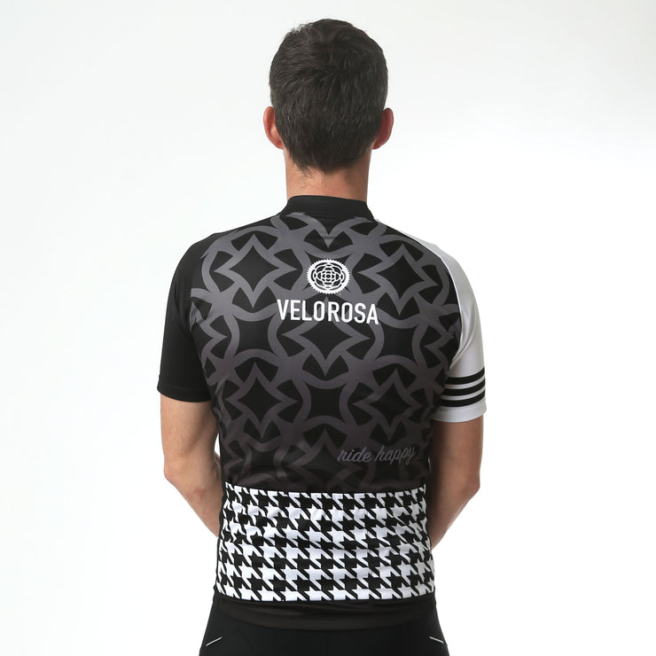 Model wearing Ride Patrol Men's Biking Jersey Back