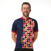 Model wearing Retro Men's Cycling Jersey Front