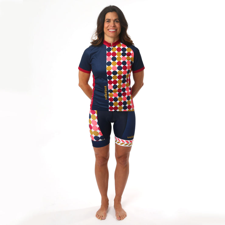 Model wearing Retro Collection Women's Polka Dot Full Cycling Kit Front