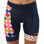 Model wearing Retro Collection Polka Dot Women's Cycling Shorts Front
