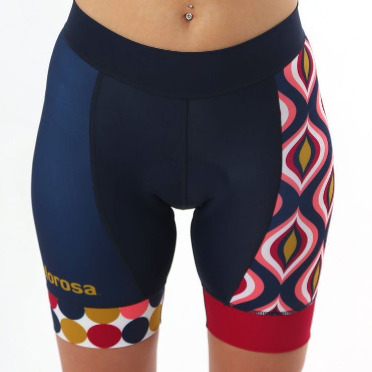 Model wearing Retro Collection Ripple Women's Cycling Shorts Front