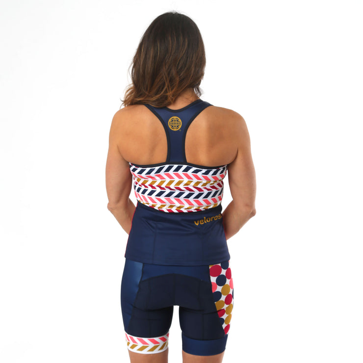 Model wearing Retro Collection Women's Biking Tank Kit Back