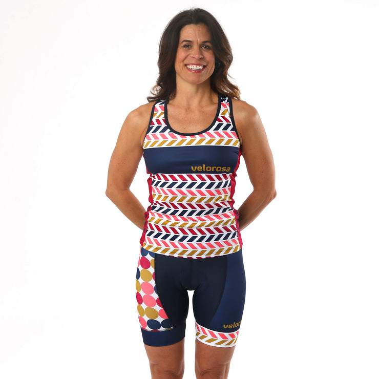 Model wearing Retro Collection Women's Cycling Tank Kit Front