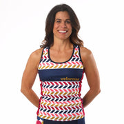 Model wearing Retro Collection Women's Cycling Tank Front