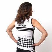 Model wearing Ride Patrol Women's Sleeveless Biking Jersey Back