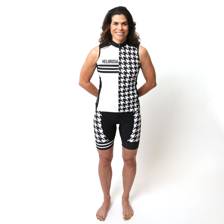 Model wearing Ride Patrol Women's Sleeveless Cycling Jersey Kit Front