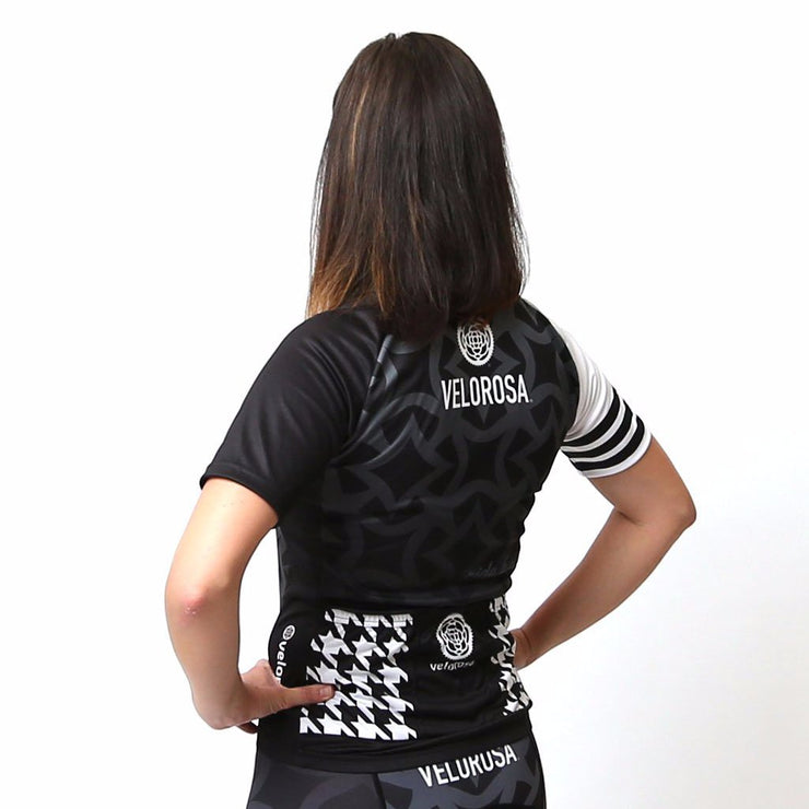 Model wearing Ride Patrol Women's Biking Jersey Back