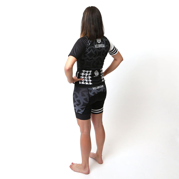 Model wearing Ride Patrol Women's Biking Jersey Kit Back