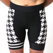 Model wearing Ride Patrol Women's Panel Cycling Shorts Front