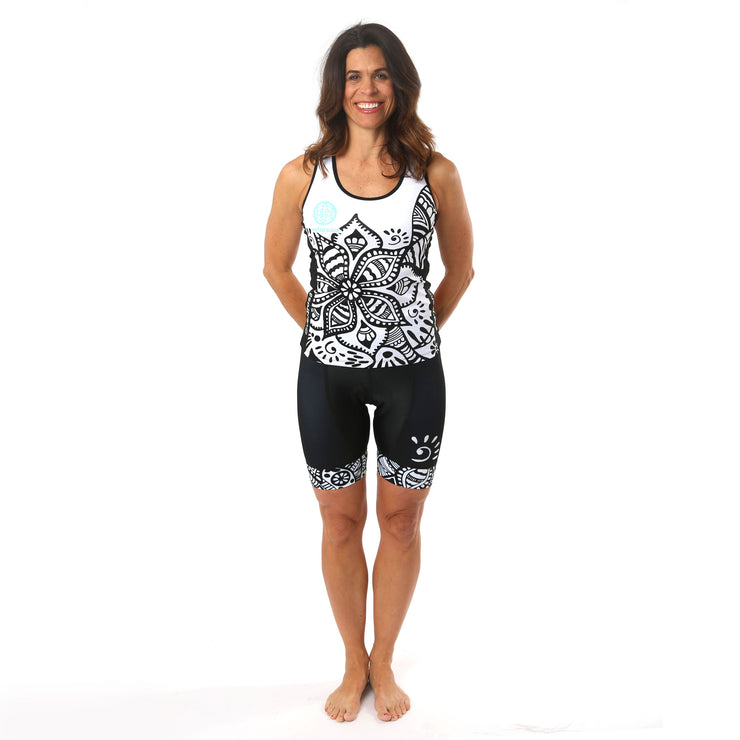 Model wearing Soul Sister Emma Women's Cycling Tank Kit Front