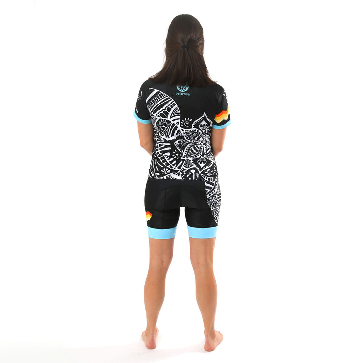 Model wearing Soul Sister Megan Women's Cycling Shorts Kit Back