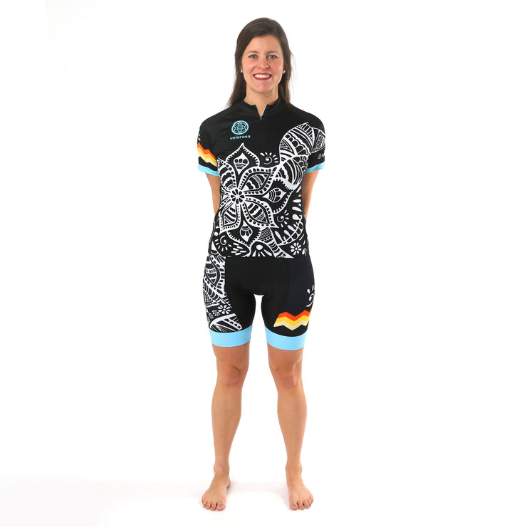 Model wearing Soul Sister Megan Women's Cycling Shorts Kit Front