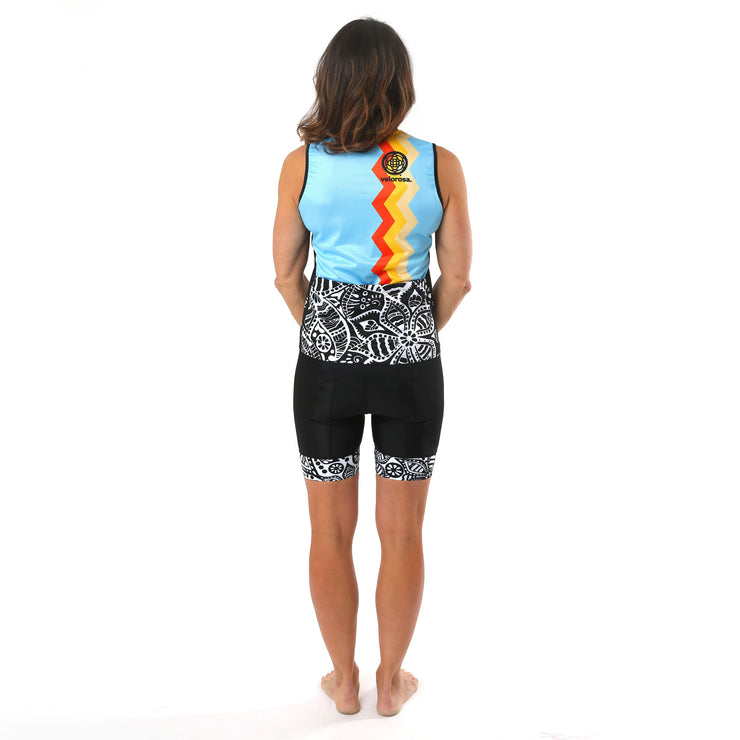 Model wearing Soul Sister Reese Women's Sleeveless Biking Jersey Kit Back