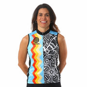 Model wearing Soul Sister Reese Women's Sleeveless Cycling Jersey Front