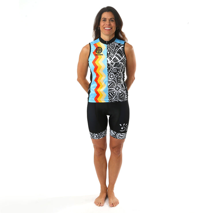Model wearing Soul Sister Reese Women's Sleeveless Cycling Jersey Kit Front