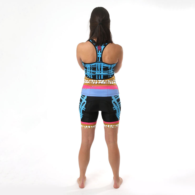 Model wearing Vista Grid Women's Biking Shorts Kit Back