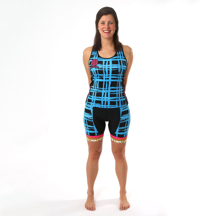 Model wearing Vista Grid Women's Cycling Shorts Kit Front